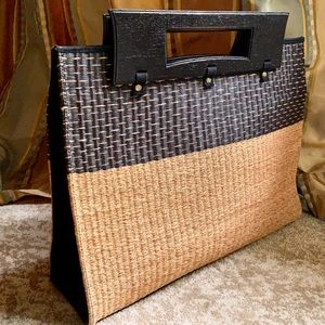 Vintage Wood & Woven Bamboo Tote